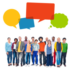 stock-photo-46503680-multiethnic-group-of-people-and-speech-bubbles